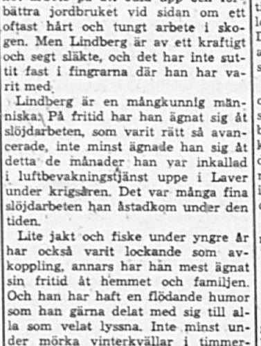 Lindberg Johan Artur Södra Vistträsk 70 år 19 Jan 1962 Pt