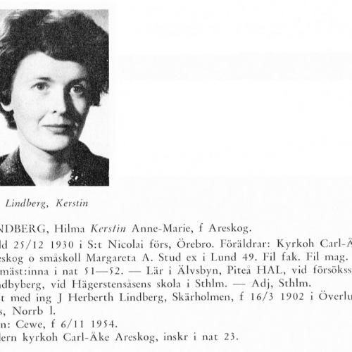 Lindberg Kerstin 19301225 Från Svenskt Porträttarkiv