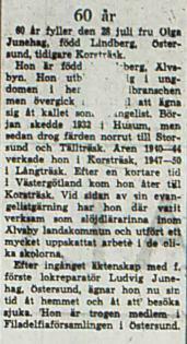 Lindberg Olga fd Korsträsk 60 år 28 Juli 1966 NK