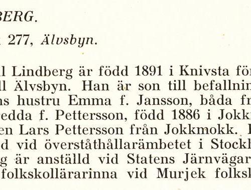 Lindberg Paul Från Boken Svensk Familjekalender Tryckt 1945