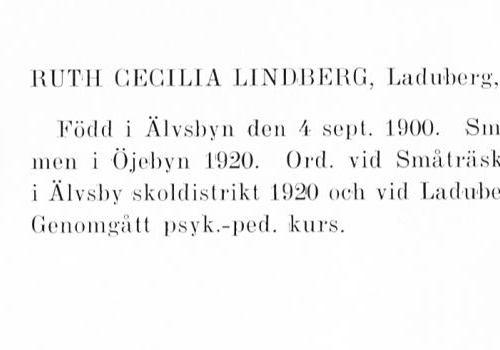 Lindberg Ruth 19000904 Från Svenskt Porträttarkiv