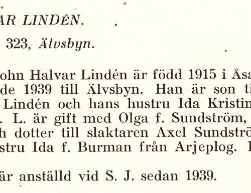 Lindén John Halvar Från Boken Svensk Familjekalender Tryckt 1945