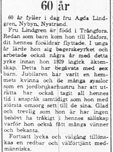 Lindgren Agda Nybyn Nystrand 60 år 16 feb 1965 PT