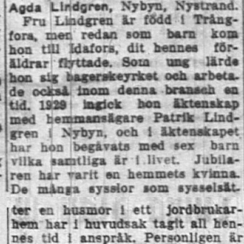 Lindgren Agda Nystrand 50 år 16 Feb 1955 NK