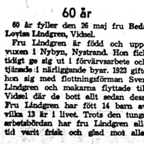 Lindgren Beda Lovisa Vidsel 60 år 26  Maj 1959 NK