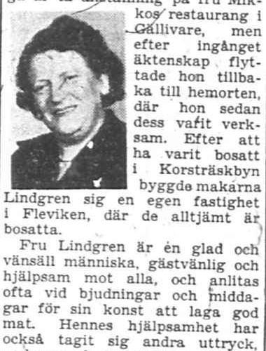 Lindgren Bertha Fleviken 50 år 9 maj 1956 PT