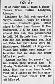 Lindgren Ernst Helian 65 år 15 Mars 1969 NK