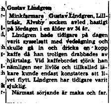 Lindgren Gustav Lillträsk död 25 maj 1964 NK