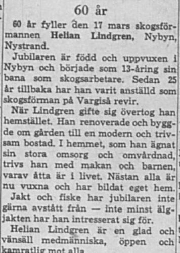 Lindgren Helian Nybyn 60 år 16 Mars 1964 NK