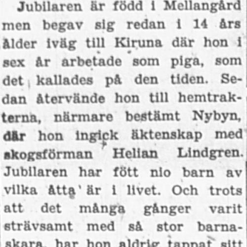 Lindgren Linnea Nybyn 50 år 30 Juni 1956 PT