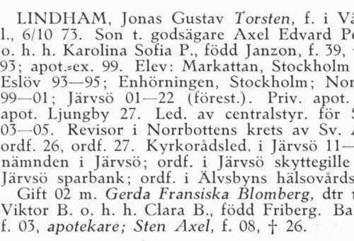 Lindham Torsten 18731006 Från Svenskt Porträttarkiv b