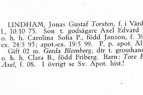 Lindham Torsten 18731010 Från Svenskt Porträttarkiv c
