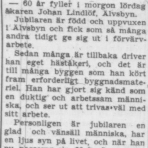 Lindlöf Johan Älvsbyn 60 år 3 maj 1957 PT