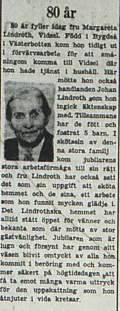 Lindroth Margareta 80 år 2 Sept 1953 Pt