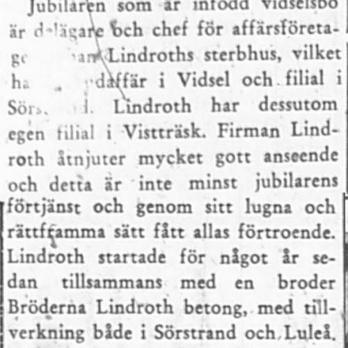 Lindroth Melker Vidsel 50 år 9 Juli 1956 PT