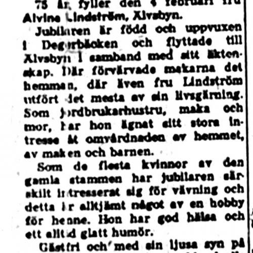 Lindström Alvina 75 år 4 feb 1957 nk