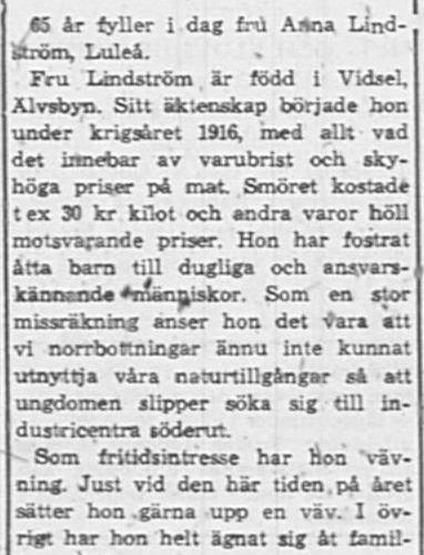 Lindström Anna fd Vidsel 65 år 9 Jan PT