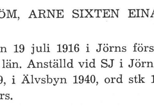 Lindström Arne Sixten Einar Från boken Sveriges Järnvägsstationer tryckt 1949