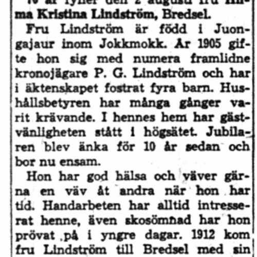 Lindström Hilma Kristina Bredsel 70 år 2 Aug 1958 NK