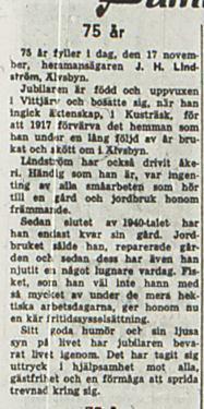 Lindström Johan Helmer 75 år 17 nov 1956 NK
