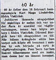 Lindström Karl Hugo 60 år 16 feb 1957 nk