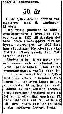 Lindström Nils E Älvsbyn 50 år 14 Juli 1949 NK