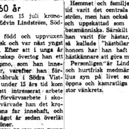 Lindström Olov Edvin Södra Vistträsk 60 år 14   Juli 1959 NK