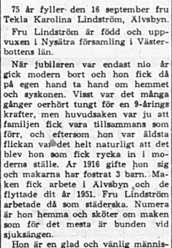 Lindström Tekla Karolina Älvsbyn 75 år 15 Sept 1965 PT