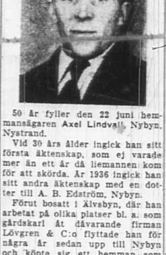 Lindvall Axel Nybyn 50 år 22 Juni 1951 NK