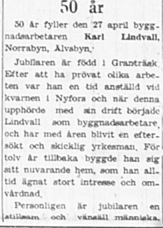 Lindvall Karl Norrabyn 50 år 26 April 1949 NK
