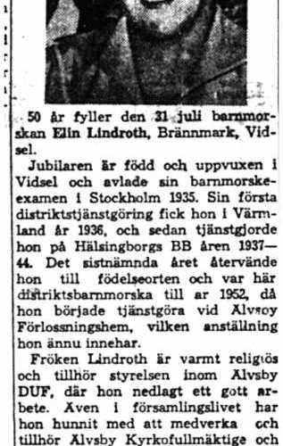 Lindroth Elin Brännmark 50 år 30  Juli 1958 NK