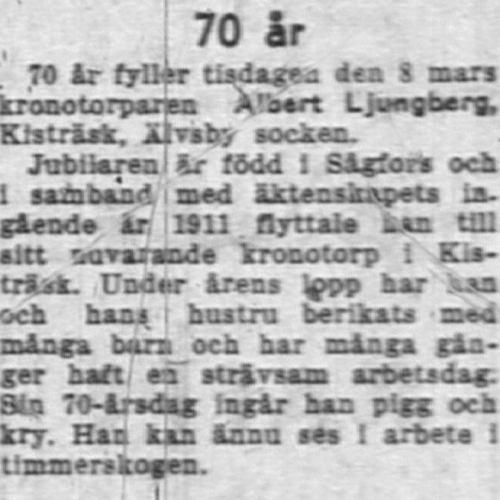 Ljungberg Albert Kisträsk 70 år 8 Mars 1955 NK
