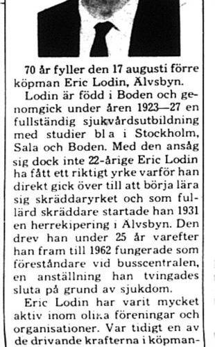 Lodin Eric Älvsbyn 70 år 16 aug 1975 PT
