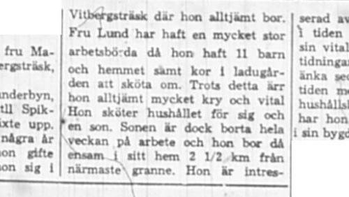 Lund Eugenia Vitbergsträsk Vidsel 80 år 19 Nov 1966 NSD
