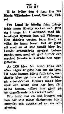 Lund Ida Maria Vilhelmina Sävdal Vidsel 75 år 3 Juni 1958 NK