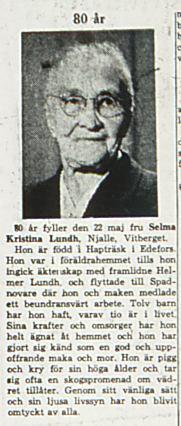 Lund Selma Kristina Njalle 80 år 21 maj 1963 NK