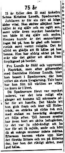 Lund Selma Kristina Spadnovare 75 år 21 Maj 1958 NK