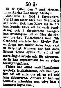 Lundberg Adrian Älvsbyn 50 år 7 Maj 1958 NK