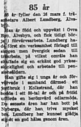 Lundberg Albert Älvsbyn 85 år 15 Mars 1969 NK