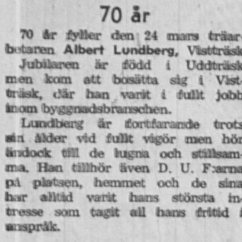 Lundberg Albert Vistträsk 70 år 22 Mars 1958 NK