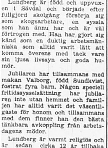 Lundberg Alvar Sävdal Vidsel 50 år 20 Mars 1965 PT