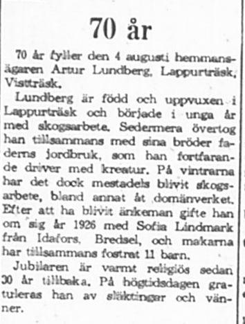 Lundberg Arthur Lappurträsk 70 år 3 Augusti 1965 PT