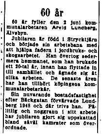 Lundberg Arvid Älvsbyn 60 år 1 Juni 1953 NK