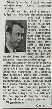 Lundberg Arvid Älvsbyn 60 år 30 maj 1953 PT