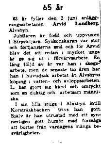 Lundberg Arvid Älvsbyn 65 år 2 Juni 1958 NK
