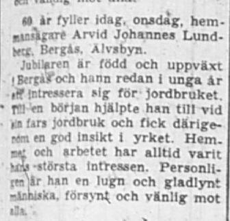 Lundberg Arvid Johannes Bergås Älvsbyn 60 år 18 Sept 1957 NSD