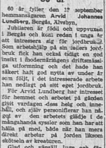 Lundberg Arvid Johannes Bergås Älvsbyn 60 år 18 Sept 1957 Nk