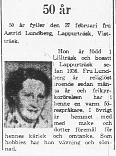 Lundberg Astrid Lappurträsk 50 år 27 feb 1965 PT