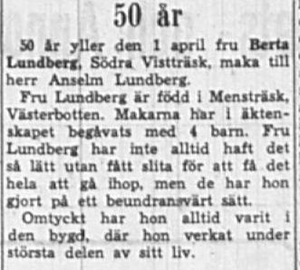 Lundberg Berta Södra Vistträsk 50 år 1 April 1949 NK