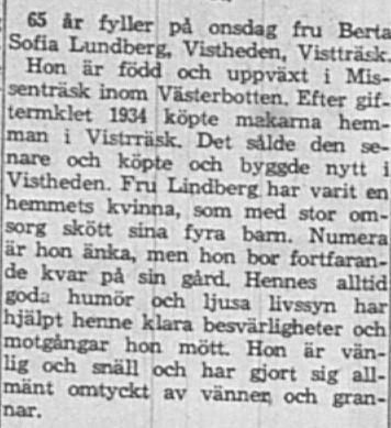 Lundberg Berta Sofia Vistheden 65 år 1 April 1964 NSD